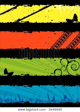 Set of grunge banners ready for your text. stock photo