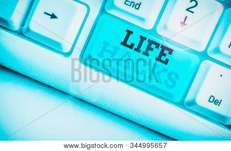 Word writing text Life Hacks. Business concept for Strategy technique to analysisage daily activities more efficiently. stock photo