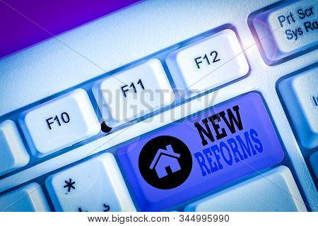 Writing note showing New Reforms. Business photo showcasing to amend or improve by change of form or removal of faults. stock photo