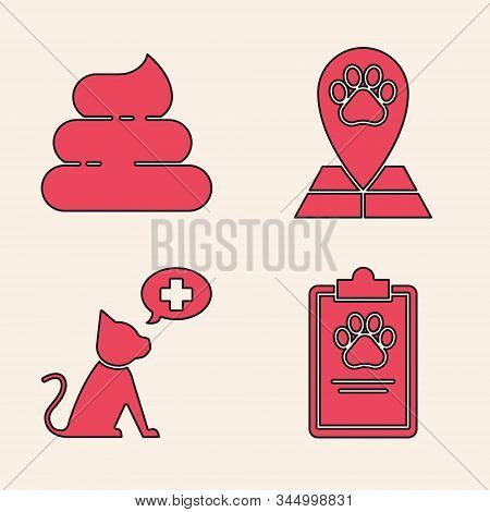 Set Clipboard with medical clinical record pet, Shit, Map pointer with veterinary medicine hospital and Veterinary clinic symbol icon. Vector stock photo