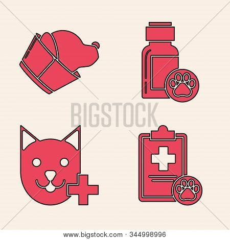Set Clipboard with medical clinical record pet, Veterinary clinic symbol, Dog medicine bottle and Veterinary clinic symbol icon. Vector stock photo