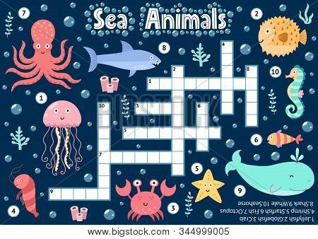 Crossword puzzle game of sea animals for kids. Underwater logical activity sheet stock photo