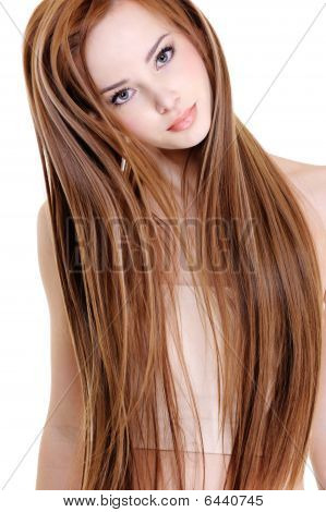 portrait of the beautiful young woman with beauty long straight hairs stock photo