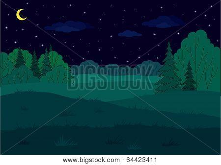 Landscape, summer backwoods dell