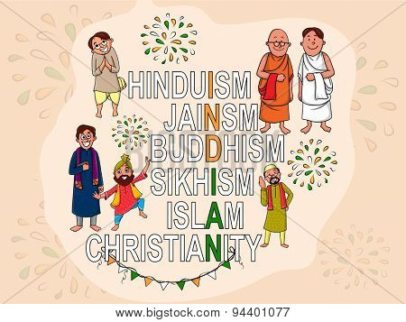 Creative illustration with different religion\'s names and people make national flag color text India