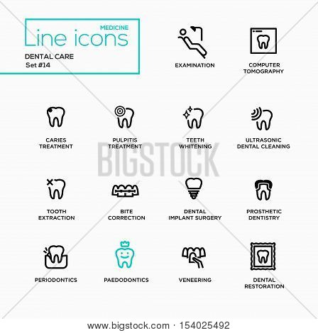 Dental Care - single line pictograms set. Examination, tomography, caries, pulpitis, restoration, implant surgery, bite correction, teeth whitening extraction prosthetic dentistry periodontics stock photo
