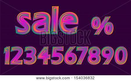 Disco Neon Pink Glowing Sale Numbers Set Discount Percent vector