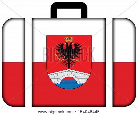 Flag of Honda Tolima Department Colombia. Suitcase icon travel and transportation concept stock photo