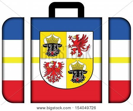 Flag of Mecklenburg-Western Pomerania with Coat of Arms Germany. Suitcase icon travel and transportation concept stock photo
