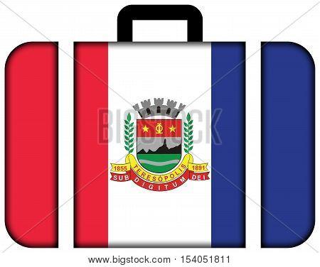 Flag of Teresopolis Rio de Janeiro State Brazil. Suitcase icon travel and transportation concept stock photo