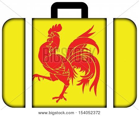 Flag of Walloon Region (Wallonia) Belgium. Suitcase icon travel and transportation concept stock photo