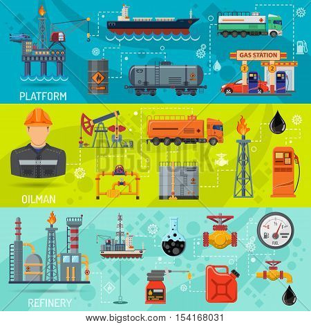 Oil industry Horizontal Banners with Flat Icons extraction refinery and transportation oil and petrol with gas station, rig and barrels. vector illustration. stock photo
