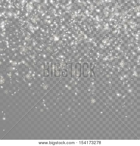 Snow falling background. Vector magic Christmas eve snowfall. White glitter snowflakes falling down