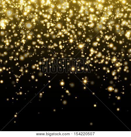Vector gold glitter particles background effect for luxury greeting rich card. Sparkling texture. Star dust sparks in explosion on transparent background. stock photo