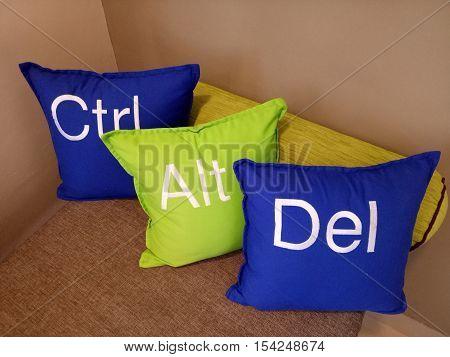 Kata-kata Ctrl Alt Del ini menyampaikan sesuatu untuk tamu yang ada di Hotel stock photo