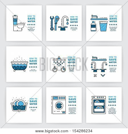 Illustration with tips on saving water consumption by man in a house to reduce financial costs and reduce the amount of accounts with water consumption. Outline icon and symbol saving water. stock photo