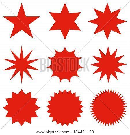 Collection Of Trendy Retro Stars Shapes.sunburst Design Elements Set.