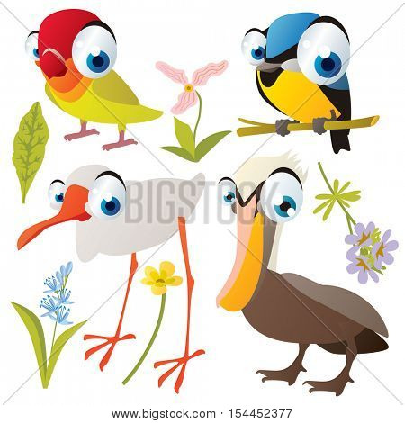 vector cute colorful cartoon isolated birds and flowers illustrations collection: tomtit, lovebird, pelican, ibis crane stock photo