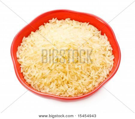 red bowl with rice isolated on white stock photo