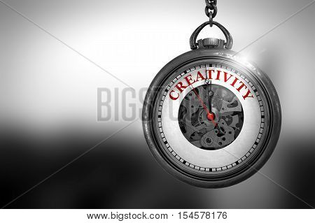 Business Concept: Watch with Creativity - Red Text on it Face. Creativity Close Up of Red Text on the Vintage Pocket Clock Face. 3D Rendering.