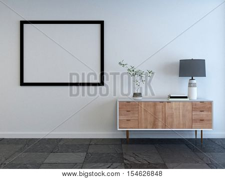 Mockup of a living room interior with empty picture frame on the wall and small wooden cabinet with