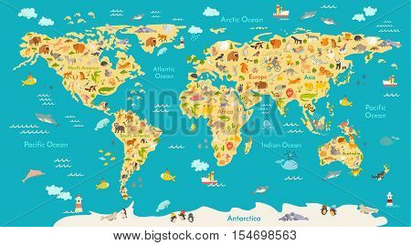 Animal map for kid world vector poster for children cute preschool cartoon globe with animals oceans and continent south americaeurasianorth americaafrica australiaby world map gumiabroncs Gallery