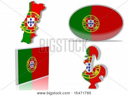 Portugese flag in 4 different designs, in shape of the country, oval shape, flat on an angle, in a shape of a national symbol. stock photo
