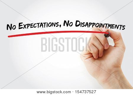 Hand writing No Expectations No Disappointments with marker concept background stock photo