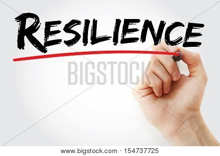 Hand writing Resilience with marker concept background stock photo
