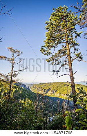 Hawksbill Mountain at Linville gorge with Table Rock Mountain landscapes stock photo