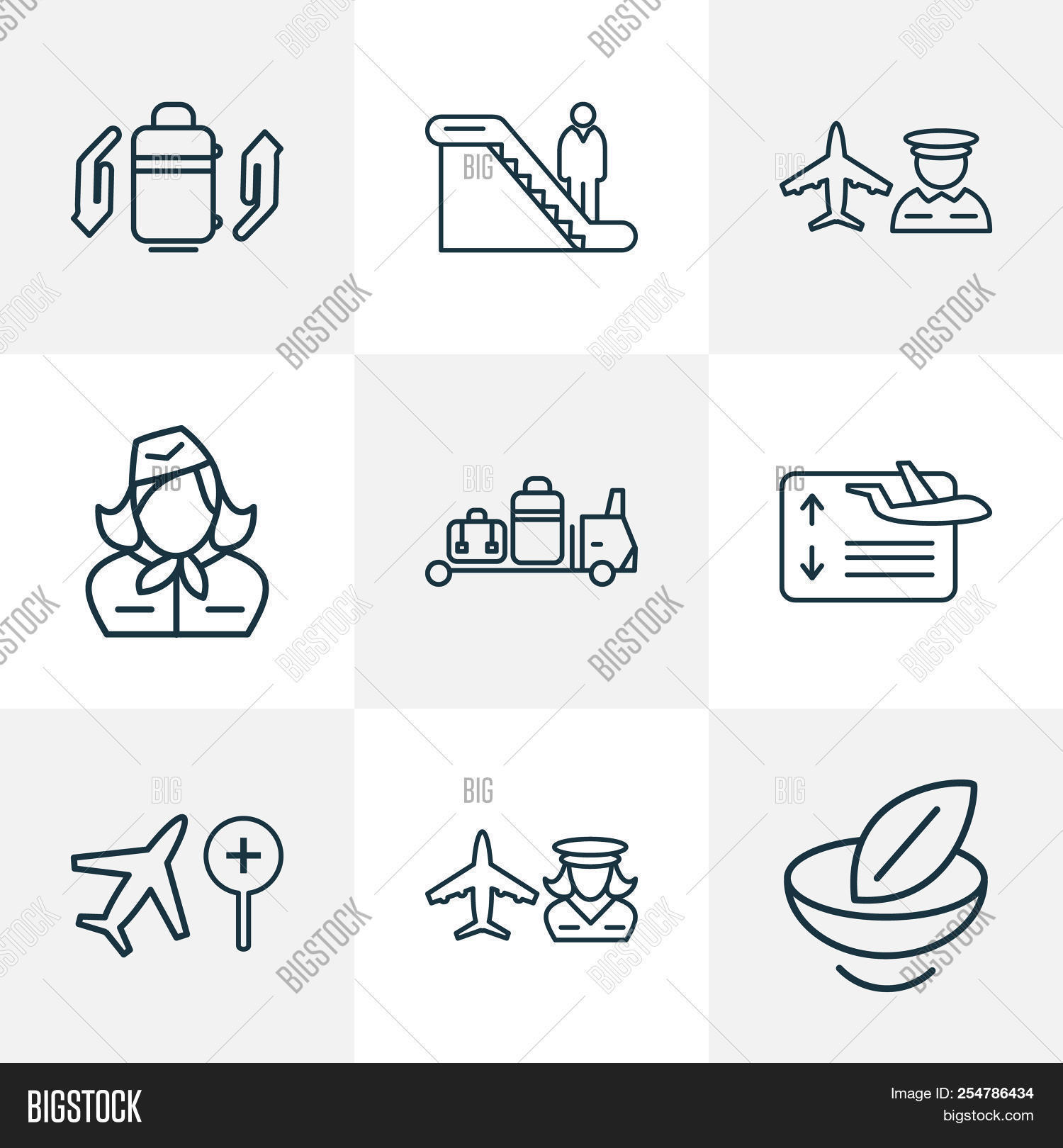 Traveling Icons Line Style Set With Flight Board Hostess