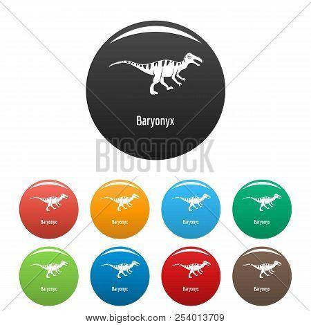 Baryonyx icon. Simple illustration of baryonyx icons set color isolated on white stock photo