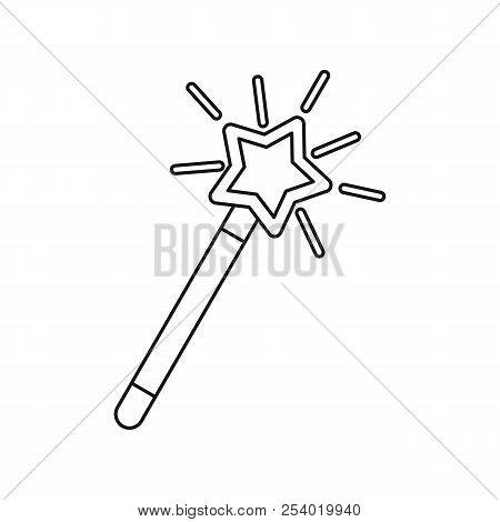 Magic wand icon in outline style isolated on white background. Tricks symbol illustration stock photo