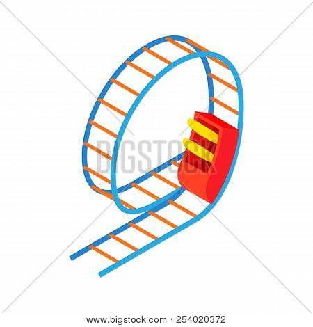 Swing roller coaster icon in cartoon style isolated on white background. Entertainment symbol illustration stock photo