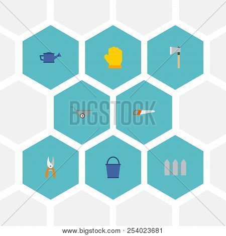 Set of gardening icons flat style symbols with gloves, scissors, hatchet and other icons for your web mobile app logo design. stock photo