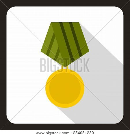 Military medal icon in flat style with long shadow illustration stock photo