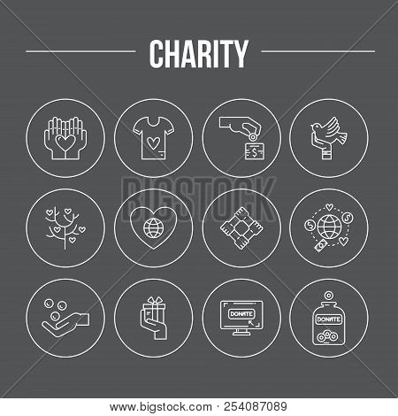 Charity and donation icons made in modern line style. Helping hand vector illustration. Vector symbols of fundraising, charity work, label for non-profit volunteer organization. stock photo