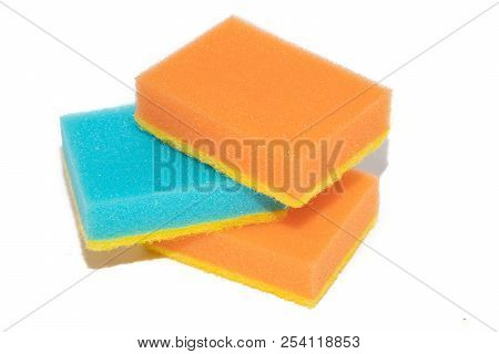 sponges for washing dishes. Sponges for washing dishes on white background. Washing dishes, cleaning. Kitchen accessories. stock photo