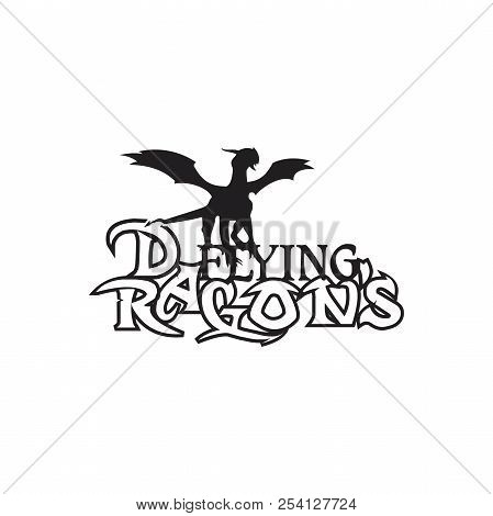 Black stylized vector illustrations of dragon flying with letter element design. Design vector dragons. Vector illustration EPS.8 EPS.10 stock photo