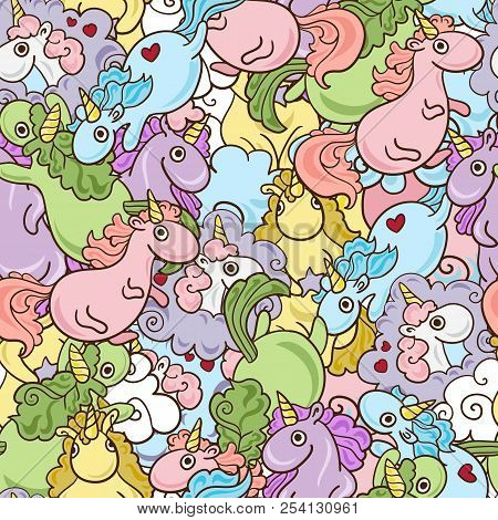 Magic Unicorn with rainbow horn and flying hearts with wings seamless pink pattern. Modern fairytale endless textures, magical repeating backgrounds. Cute baby backdrops. stock photo