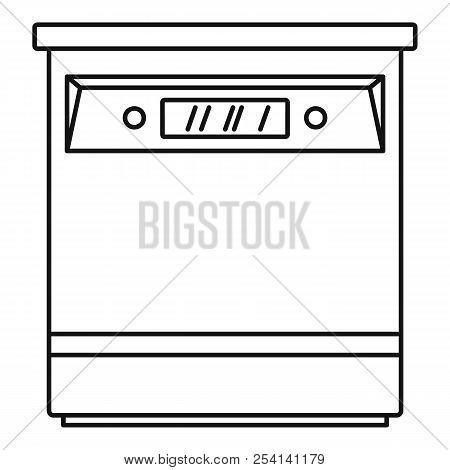 Closed dishwasher icon. Outline illustration of closed dishwasher icon for web design isolated on white background stock photo