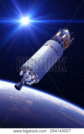 Crew Exploration Vehicle In The Rays Of Light. 3D Illustration. stock photo