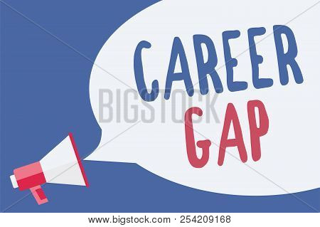 Word writing text Career Gap. Business concept for A scene where in you stop working by your profession for a while Megaphone loudspeaker speech bubble important message speaking out loud. stock photo
