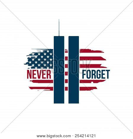 9/11 Patriot Day Card With Twin Towers On American Flag. Usa Patriot Day Banner. September 11, 2001.