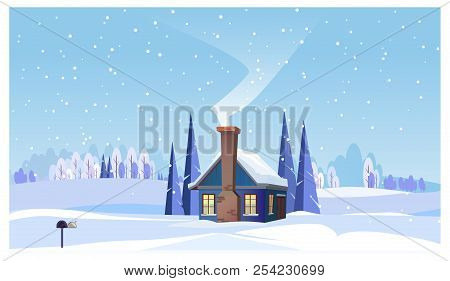Winter landscape with small house and smoking chimney vector illustration. Winter snowy country scene. Countryside house concept. For websites, wallpapers, posters or banners. stock photo
