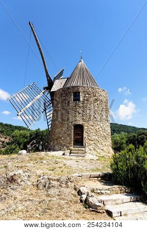 Grimaud Moulin saint roch Provence Forest Stairway Sky stock photo
