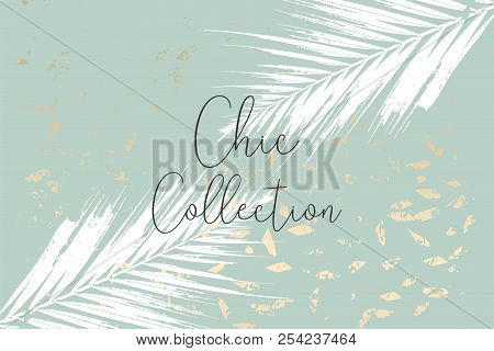 Trendy chic banner design with gold colored foil texture effect stock photo