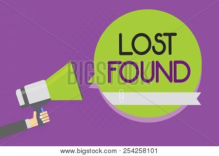Text sign showing Lost Found. Conceptual photo Things that are left behind and may retrieve to the owner Man holding megaphone loudspeaker green speech bubble purple background. stock photo