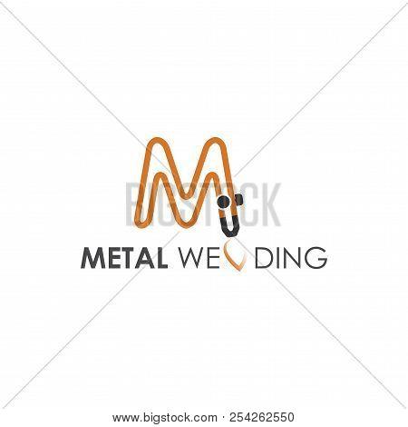 Metal steel welding grey orange logo brand with fire and hosepipe stock photo