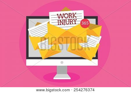 Text sign showing Work Injury. Conceptual photo Accident in job Danger Unsecure conditions Hurt Trauma Computer receiving emails important messages envelopes with papers virtual. stock photo